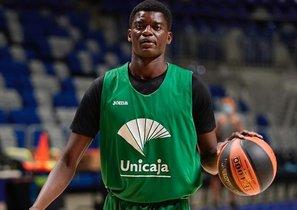 Yannick Nzosa, jugador de Unicaja, en una foto de de un entrenamiento en Málaga