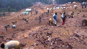 Una de las minas de coltán situadas en elCongo