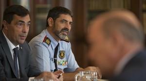 Pere Soler y Josep Lluís Trapero durante la reunión de la Junta de Seguridad del pasado septiembre.