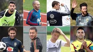 Luis Suárez, Iniesta, Griezmann, Messi, Neymar, Hazard, Müller y Falcao, estrellas de sus selecciones en el Mundial.