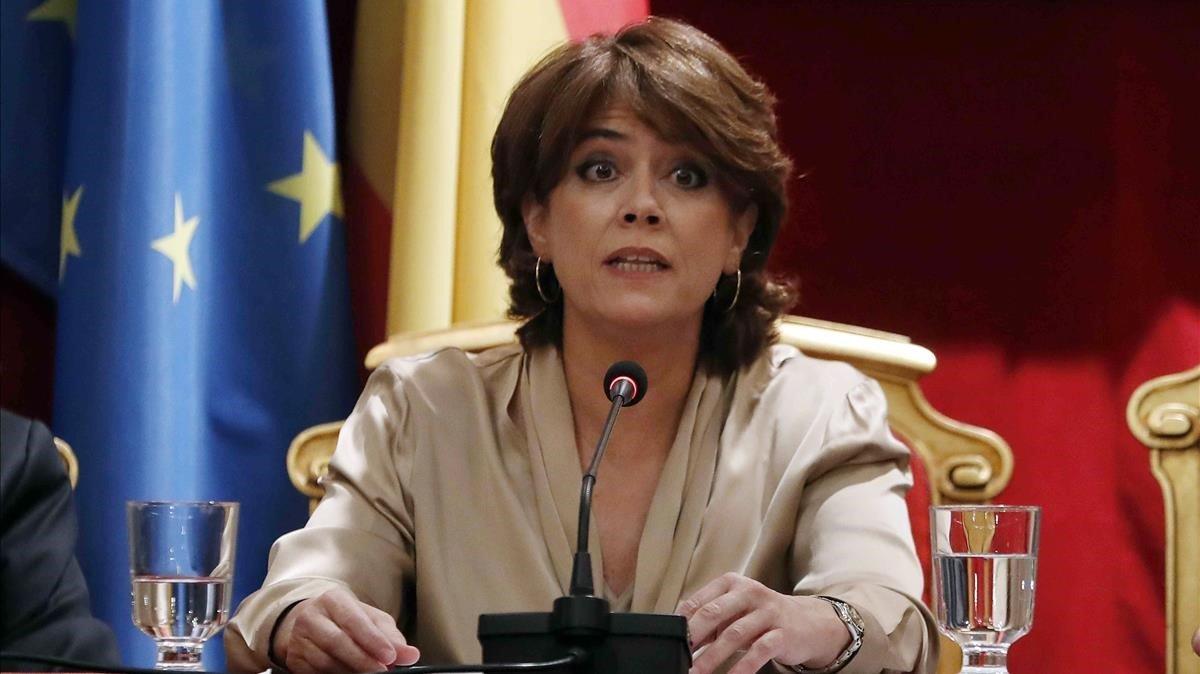 Dolores Delgado, este jueves, en el congreso de Academias Jurídicas y Sociales de Iberoamérica.