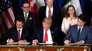 Firma del nuevo tratado comercial entre EEUU, México y Canadá.
