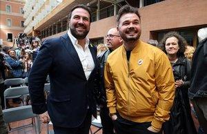 El diputado de EH Bildu Jon Iñarritu y el portavoz de ERC en el Congreso, Gabriel Rufián.