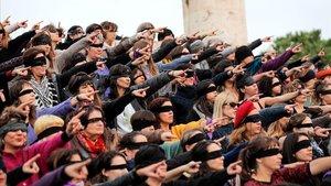 Acción de la Asamblea Feminista de Valencia contra las violaciones.