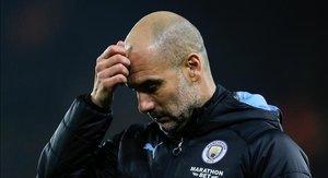 Guardiola, durante el partido que el City perdió ante el Wolverhampton Wanderers, del pasado día 27.