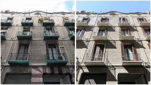 La misma fachada de un edificio del carrer Ample, antes y después de su rehabilitación.