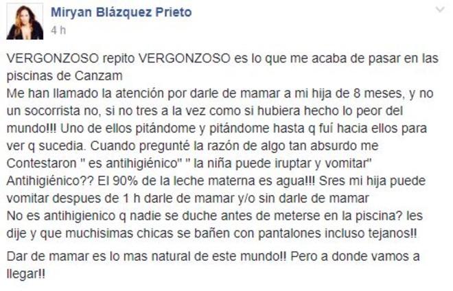 La publicación en Facebook de Miryan Blázquez.