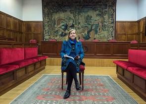 María Elósegui, en Zaragoza, tras su elección para el Tribunal Europeo de Derechos Humanos.