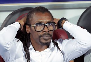 Aliou Cissé, seleccionador de Senegal, durante la final de la Copa de África.