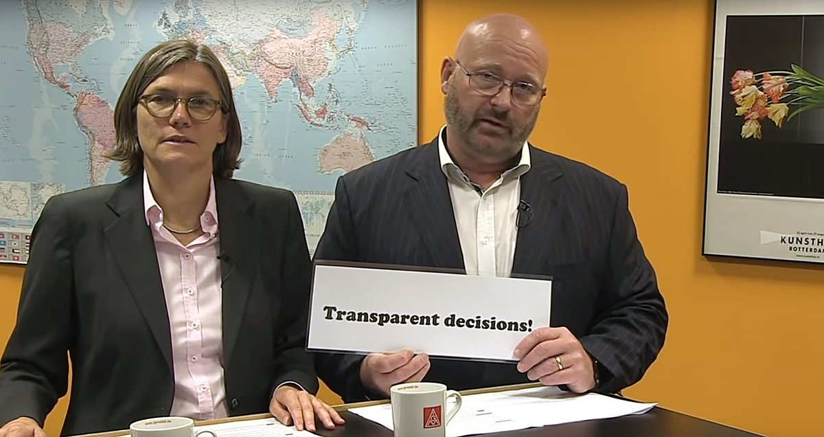 La segunda presidenta de IG Metall, Christiane Benner, y Jörg Spravel, principal impulsor de la asociación de defensa de youtubers en Alemania.