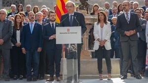 El presidente de la Generalitat, Quim Torra, en un acto en recuerdo del 1-O.