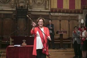 La alcaldesa Ada Colau en la toma de posesión de junio del 2015.