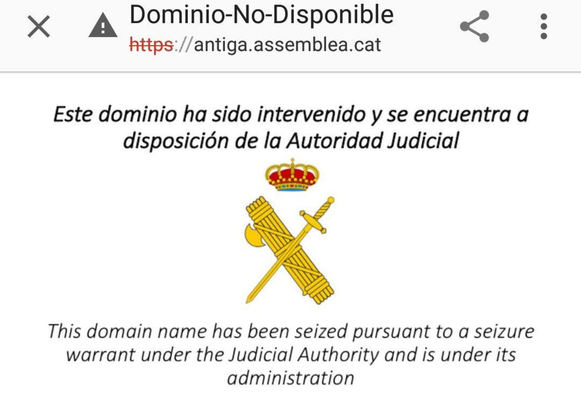 La Guardia Civil cierra la web de la ANC