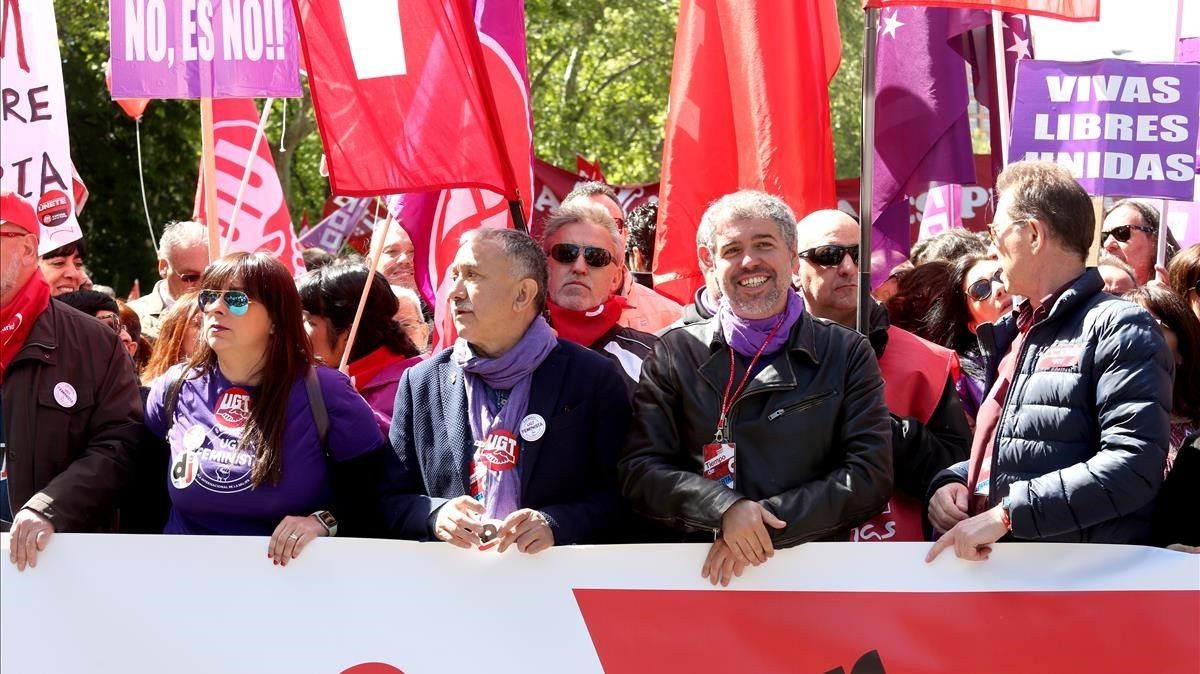 Cabecera de la Manifestación del 1 de Mayo, en Madrid.