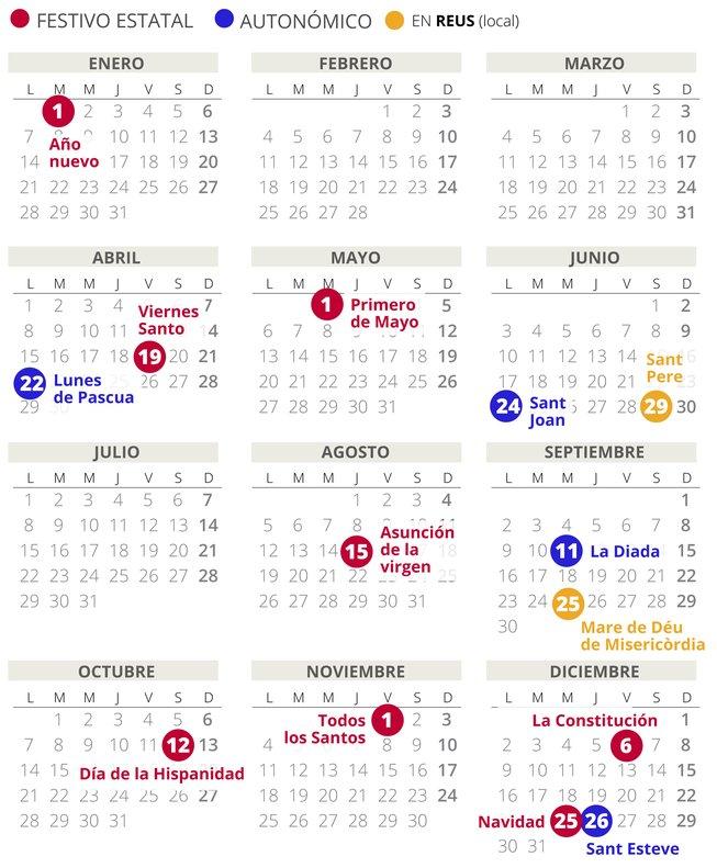 Calendario Laboral Madrid 2020 Excel.Calendario Laboral Reus 2019 Con Todos Los Festivos