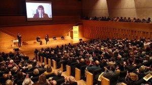 Carles Puigdemont, durante su intervención por vídeoconferencia en un acto de presentación de la Crida, este lunes, en Girona.