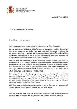 Carta de presentación de Nadia Calviño a la presidencia del Eurogrupo.