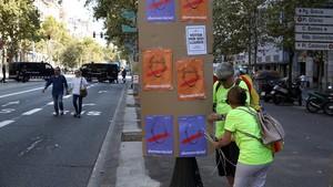 Carteles de las entidades independentistas por la democracia, en una imagen del pasado septiembre.
