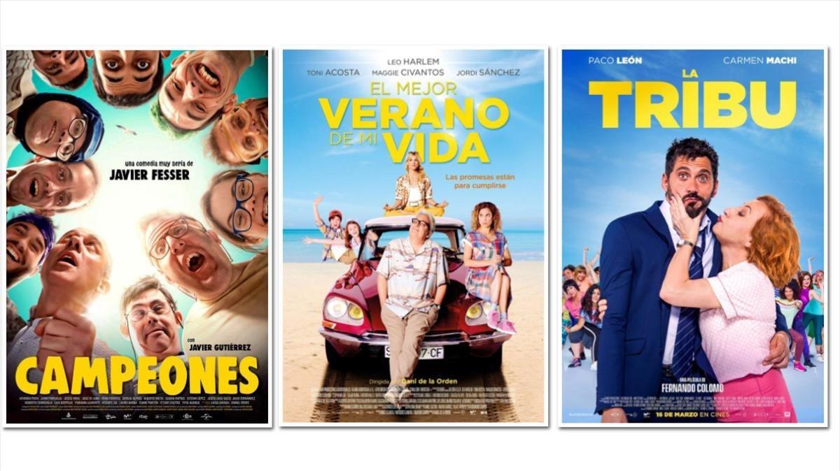 Los carteles de Campeones, El mejor verano de mi vida y Tribu.
