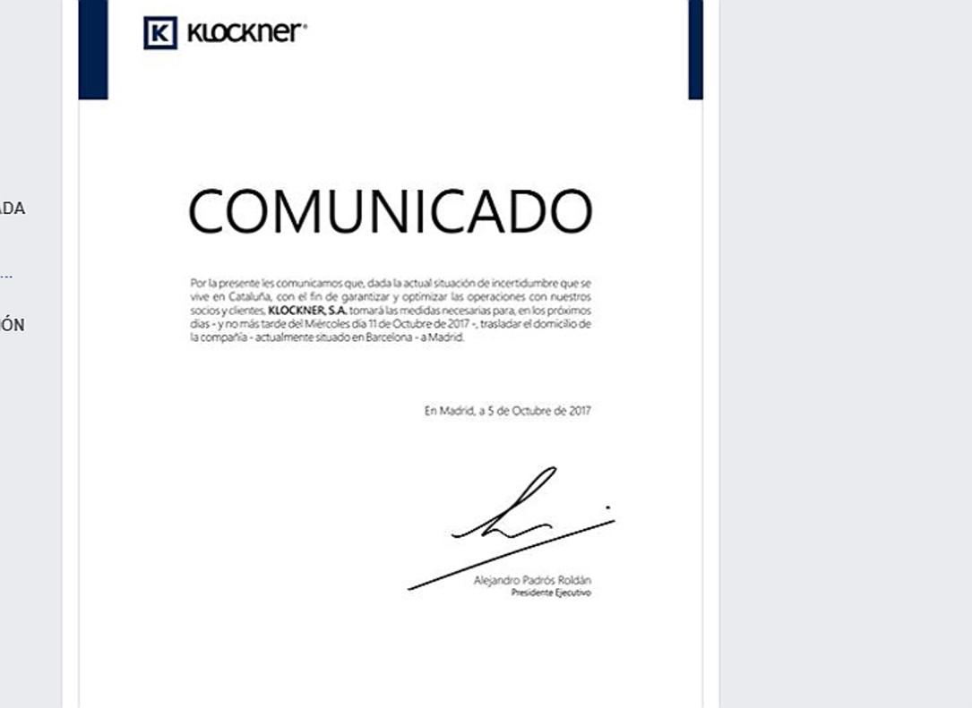 El comunicado de Klockner.
