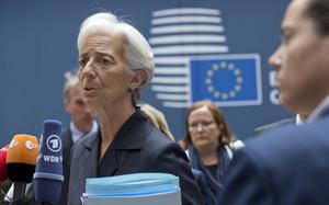 La directora de l'FMI, Christine Lagarde, aquest dissabte en la reunió de l'Eurogrup.