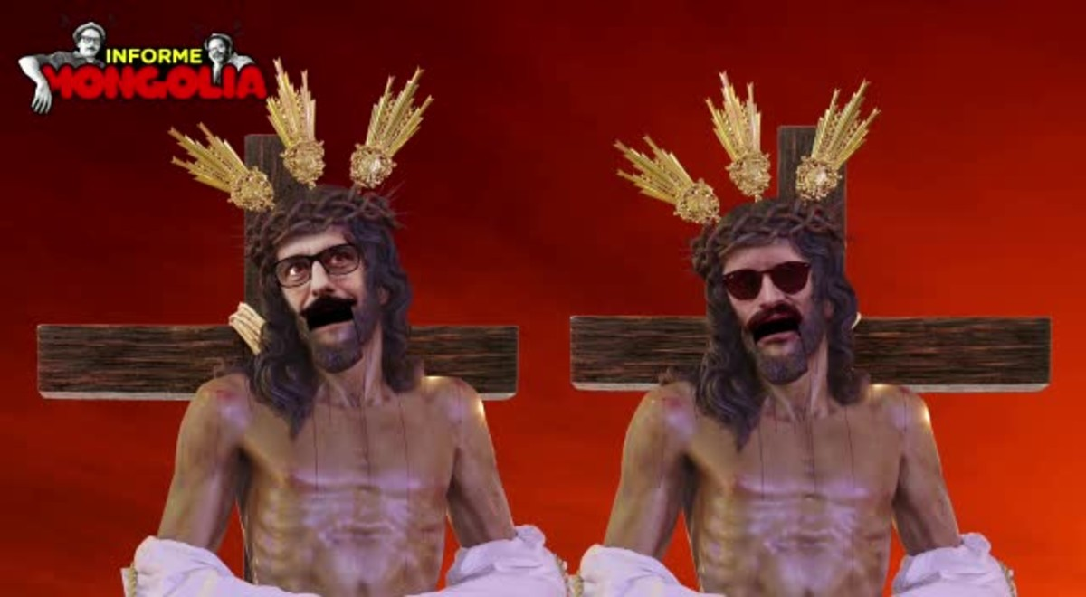 Els humoristes de Mongolia Darío Danti i Edu Galán posen la seva cara al Crist de lAmargura i xiulen Always look on the bright side of life, single de La vida de Brian