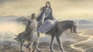 Fragmento de la ilustración de Alan Lee para la portada de Beren y Lúthien, de Tolkien.