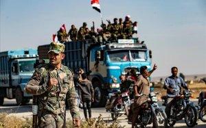 Fuerzas sirias llegan a la ciudad de Tal Tamr.