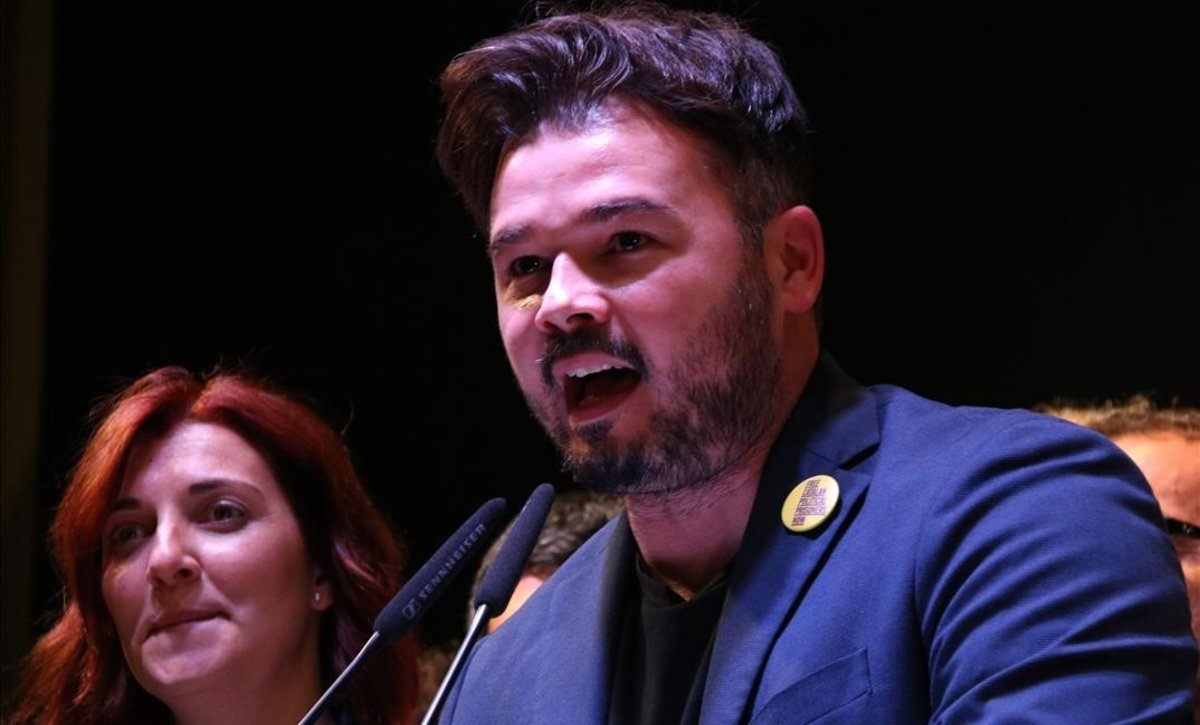 Gabriel Rufian, durante la noche electoral.
