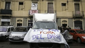 Protesta para denunciar el proceso de gentrificación que sufre el Poblenou de Barcelona, en mayo pasado.