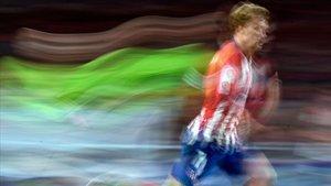 Griezmann, en el partido que jugó el Atlético contra la Real Sociedad en el Wanda Metropolitano.