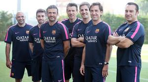 De izquierda a derecha, De la Fuente, Pol, Luis Enrique, Unzué, Moreno, Barbarà y Valdés.