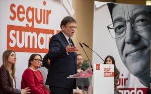 El president Ximo Puig interviene en un acto del PSPV en la campaña