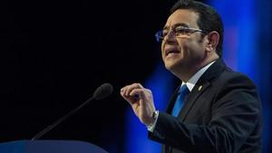 El presdidente de Guatemala, Jimmy Morales, en su intervención en Aiesec este domingo 4 de marzo