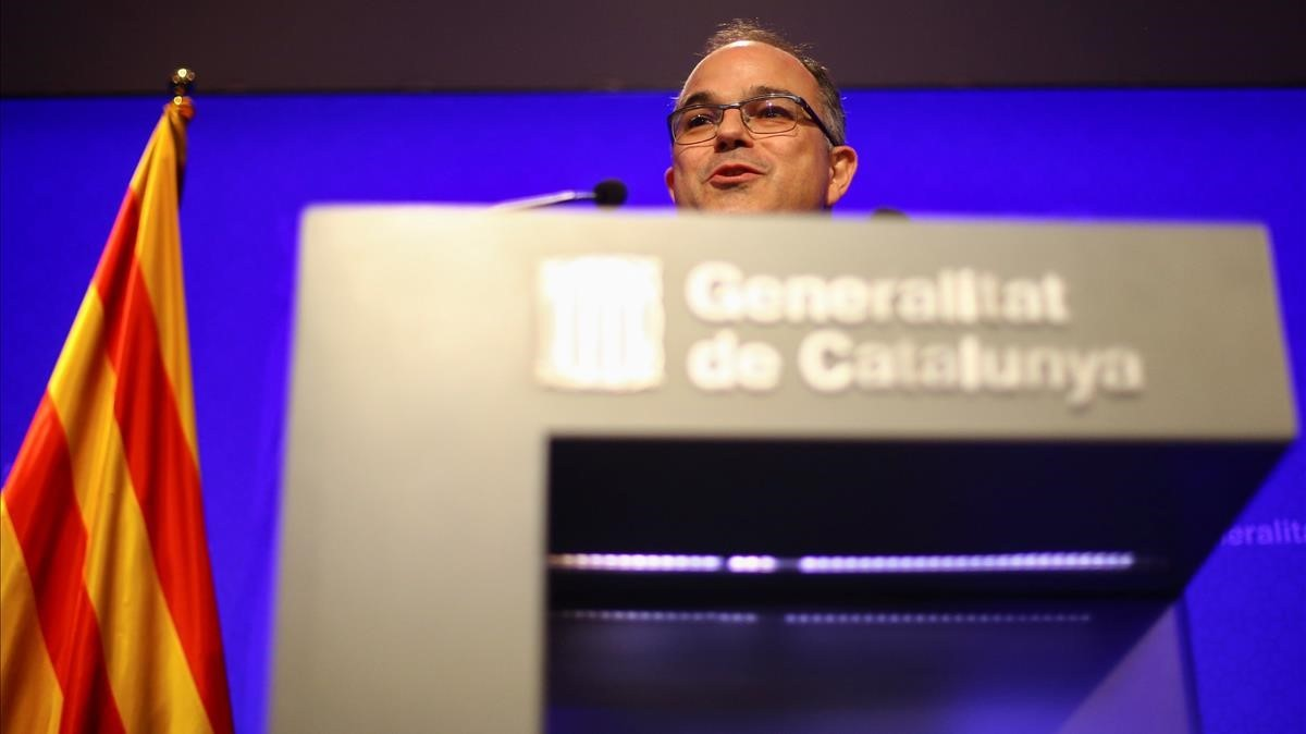 JordiTurull, durante una comparecencia como portavoz del Govern.