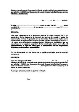 Justificante de movilidad covid de la Comunidad de Madrid.