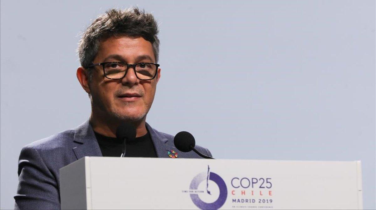 Alejandro Sanz, ensu intervencion en la novena jornada de la Cumbre del Clima (COP25) en la Feria de Madrid (IFEMA), el pasado10 de diciembre.