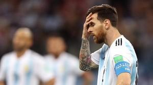 Leo Messi, en uno de sus muchos gestos de desesperación que protagonizó en el Mundial de Rusia.