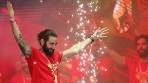Ricky Rubio, el pasado lunes 16, celebrando el triunfo de la selección en Madrid.