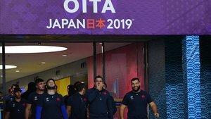 Los jugadores de Francia, en el último entrenamiento en Oita (Japón).