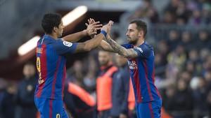 Luis Suárez y Paco Alcácer, en un partido reciente.