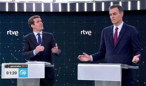 Candidates for Spanish general elections People s Party PP Pablo Casado and Prime Minister and Socialist Workers Party PSOE Pedro Sanchez attend a televised debate ahead of general elections in Pozuelo de Alarcon outside Madrid Spain April 22 2019 TVE via REUTERS