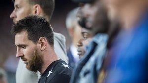 Messi, el sábado en el Camp Nou, antes del Barça-Valencia.