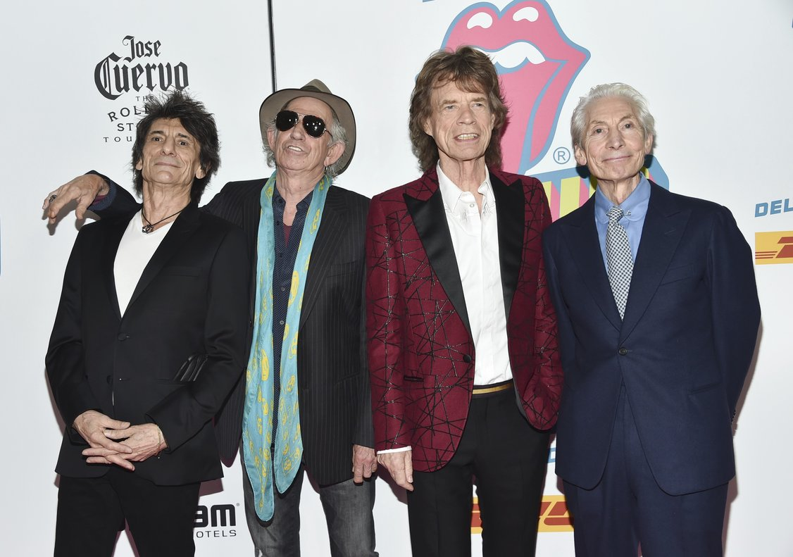 The Rolling Stonesfrom leftRonnie WoodKeith RichardsMick Jagger and Charlie Watts attend the opening night party forExhibitionismin New YorkThe Rolling Stones will be rolling through the U Snext yearThe band says it is adding a 13-show leg to its No Filter tour in spring 2019kicking off in Miami on April 20Photo by Evan Agostini Invision AP