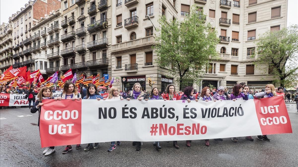 Manifestación, el pasado 1 de mayo, en Barcelona.