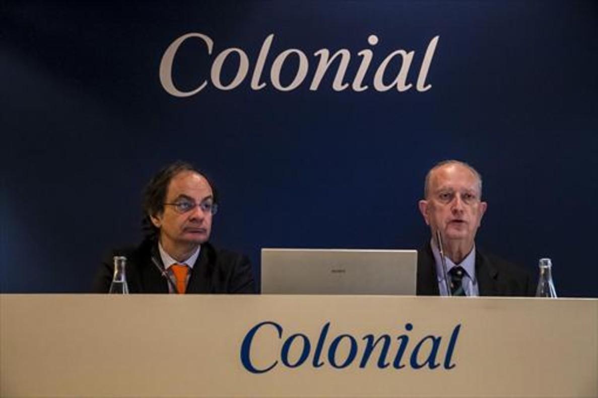 El consejero delegado de Colonial,Pere Viñolas (i), y el presidente,Juan José Brugera (d).