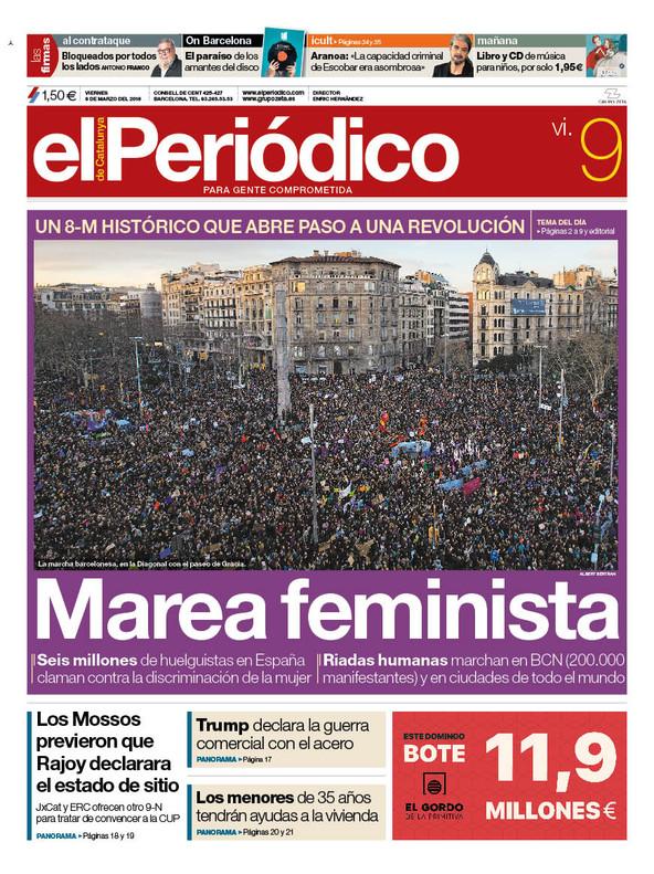 La portada de EL PERIÓDICO del 9 de marzo del 2018
