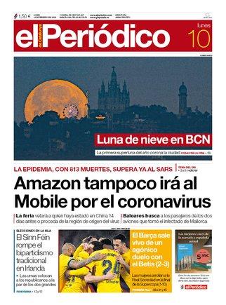 La portada de EL PERIÓDICO del 10 de febrero del 2020.