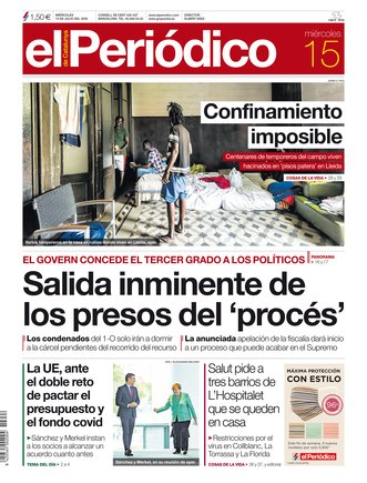 La portada de EL PERIÓDICO del 15 de julio del 2020