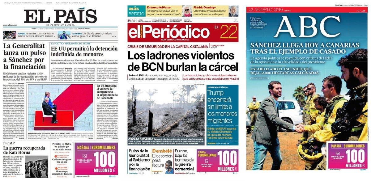 Prensa de hoy: Las portadas de los periódicos del jueves 22 de agosto del 2019